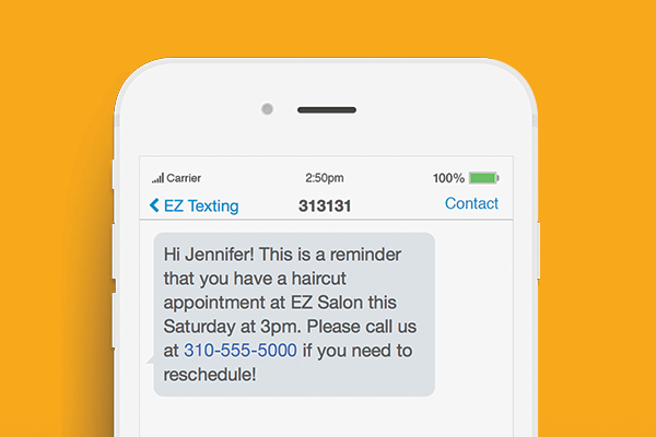 text message marketing reminder example