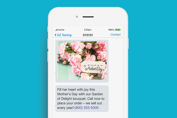 text marketing for mothers day mms example