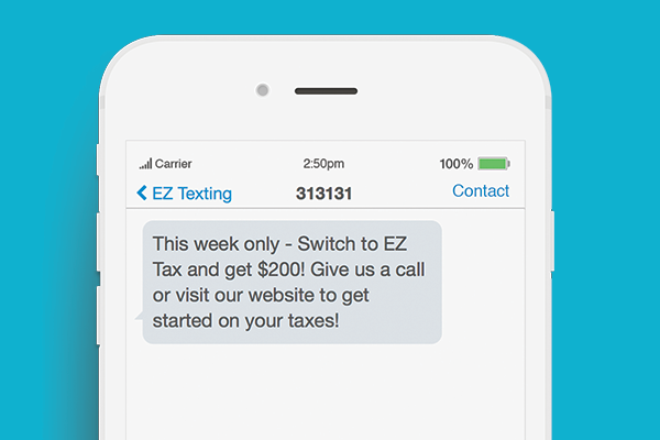 text marketing for tax preparation business promotion example