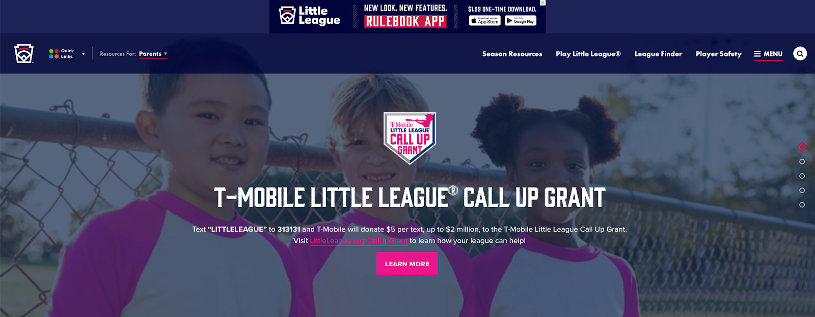 Text-to-Donate T-Mobile Little League