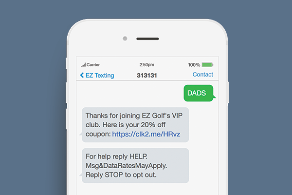 fathers day text promotions keyword example