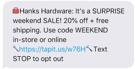 Weekend Sale Text Message