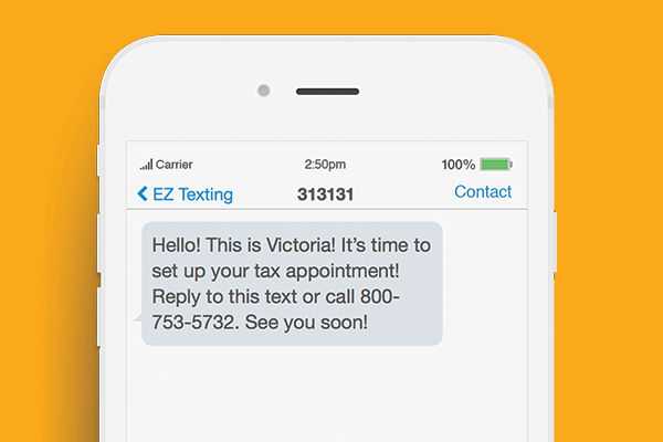 text marketing for tax preparation business reminder example